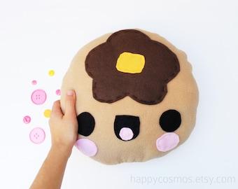 Pancake Plush - Kawaii Plushie , Cute Stuffed Animal, Children Softie, Felt Food, Decorative Pillow, Cushion