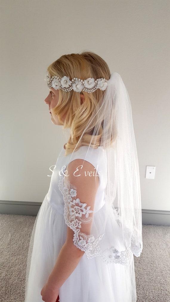 Communion Veil, First Communion Veil, Confirmation Veil, Holy Communion Veil, Baptism Veil, Pencil Edge veil, Lace veil, Flower girl veil