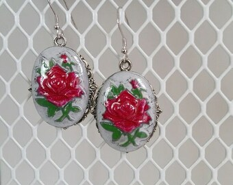 Rose Cameo Earrings , Vintage Style Rose Earrings ,  Red Rose Cameo Earrings , Oval Red Rose  Earrings , Silver Color Earrings , Red Rose