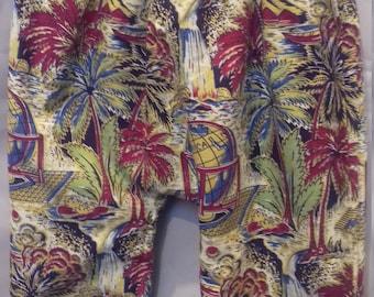 Green woolen harem pants / cotton pattern exotic vintage 6-12 months