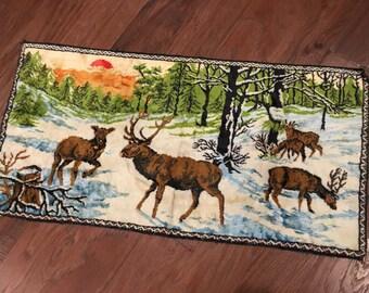 Velvet Rug stag elk deer tapestry made in belgium vintage