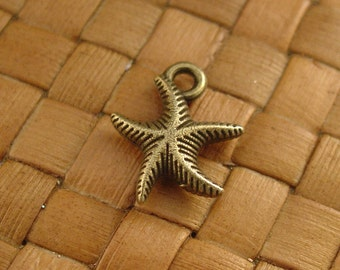 SALE:  20 pcs Antiqued Bronze Starfish Charms (13x17 mm) - 10% Off
