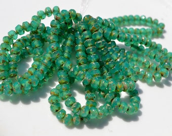 Tropical Green and Picasso 5x3mm Rondelle Czech Glass beads  30