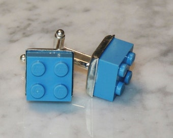 Light Blue Lego Cuff Links - Silver plated - Groomsmen gift, Birthday gift - Geeky Accessory