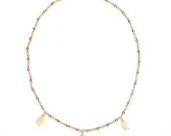 Collier opales diamants Or jaune 18K Moderne
