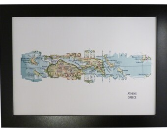 Athens Greece City Skyline Print with vintage map