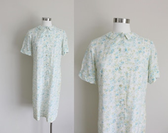 1960s Sheath Dress | Floral Dress | Floral Sheath Dress | Peter Pan Collar | Small