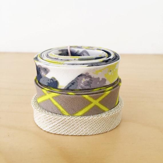 "Bias Tape 1-yard Sampler Pack 1/2"" double-fold cotton binding- 3 different designer fabrics"