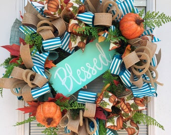 Fall Wreath for your front door, Thanksgiving Pumpkin Burlap Wreath, Fall Wreath, Thanksgiving Wreath, Pumpkin Wreath, Fall Burlap Wreath.