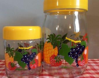 2 French Vintage 'Le Parfait' Glass Storage Jars, Citrus Fruit Pattern Storage Containers, Country Kitchen Glass Storage
