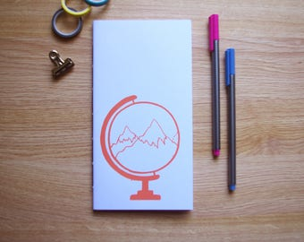 Globe and Mountain Design Screen Printed Handmade Notebook - Blank Pages - 110x210mm - Blank Pages