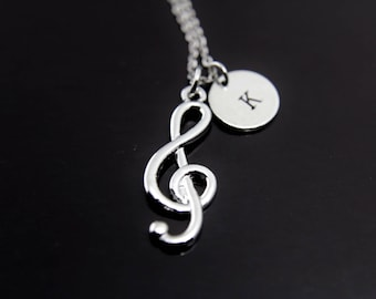 Music Gift Orchestras Musician Music Teacher Gift Music Melody Treble Clef Charm Necklace  Silver Music Note Charm Personalized Necklace