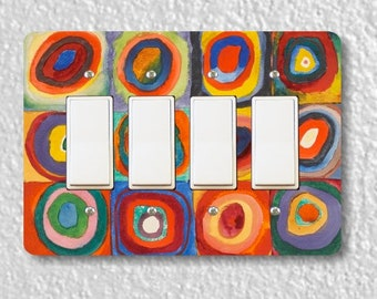 Kandinsky Squares With Concentric Circles Painting Quadruple Decora Rocker Light Switch Plate Cover