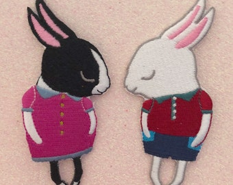 Shy Bunny Embroidered Iron-On Patch - Boy or Girl