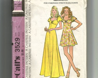 McCall's Misses' and Junior Dress For Unboned Stretchable Knits Pattern 3529