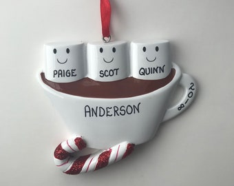 3 Family Marshmallow Personalized Christmas Ornaments / Family of Three Ornament / Hot Chocolate Family Ornament