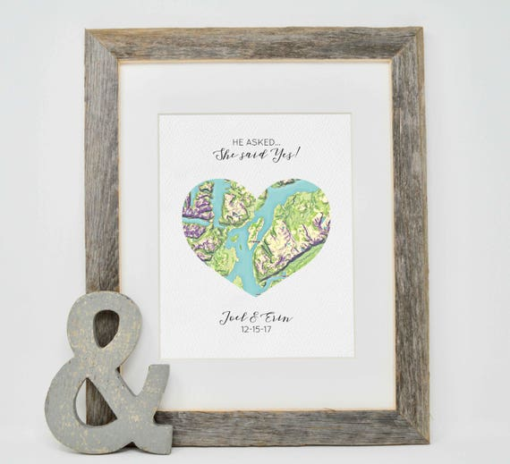 Personalized engagement gift where it all began map print like this item negle Choice Image