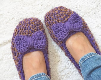 Extra thick, Simply slippers in Brown/Purple Color with Purple Bow, Adult Crochet Slippers , Women slippers, house shoes