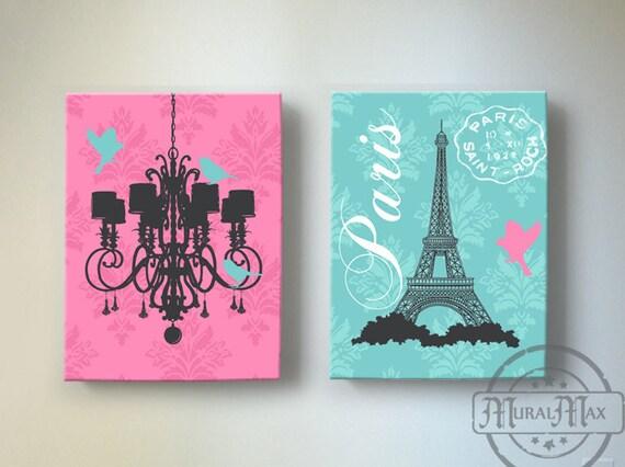 Eiffel Tower Art Paris Bedroom DecorChandelier Girls Room