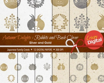 Digital Papers Silver & Gold Japanese Rabbit Crests and Bush Clover 12pcs 300dpi Instant Download Scrapbooking Printable Paper