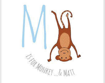M is for... Monkey. Illustrated personalised child's print. Naming gift. Christening gift. Birthday gift