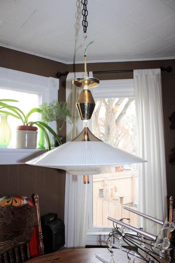 Vintage Mid Century Pull Down Ceiling Light Fixture UFO Shape