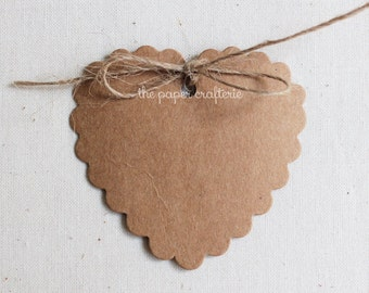 Heart Scalloped Kraft Paper Gift Tags - Pack of 20