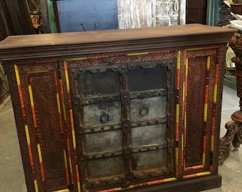 Antique Distressed Cabinet FARMHOUSE style Double Door Designs Sideboard Chest Rustic Boho Shabby Chic Decor TV CONSOLE