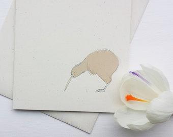 kiwi - bird illustration - recycled greeting card