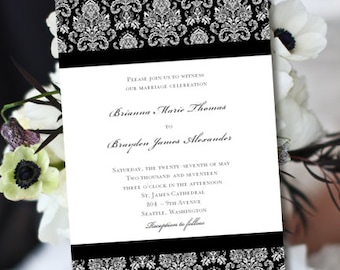 Printable Wedding Invitation Template Damask Black White