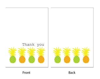 Thank you cards - 'Pineapples' - 24 x A6 cards - very tropical, envelopes included