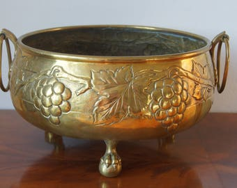 Antique Brass embossed Planter with Handles Wine Cooler Signed