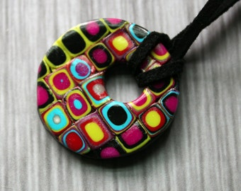 75% OFF- Pixelated Polymer Clay Pendant