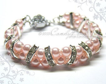 Swarovski Pearl Bracelet, Rosaline Pearl Cuff, Crystal Bracelet; Swarovski Bracelet; Glass Bracelet; Swarovski Pearl Bracelet
