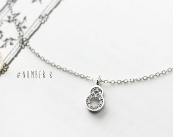 Number 8 necklace etsy number 8 necklace 925 sterling silver math dainty letter lucky charm pendant jewelry aloadofball Choice Image