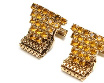 vintage rhinestone chain cuff links • 1970s gold chain links
