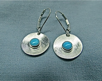 Silver earrings with sleeping beauty turquoise