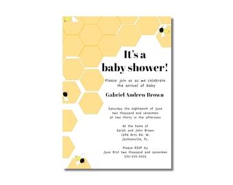 Honey Comb Baby Shower Invitation