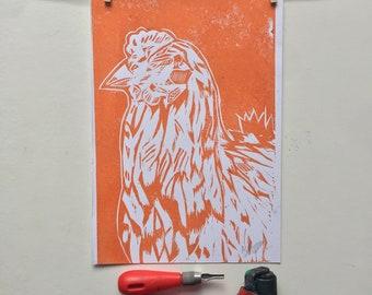 A4 Linocut Print, Cockerel, Chicken, Birds, Art, Handprinted, Home Decor