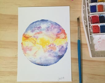 Galaxy Planet Watercolor Art Print Original Art