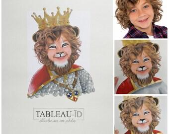 Lion king, Portrait of child into a lion, original decoration, painted face, realistic costume boy King of Savannah, souvenir surprising art