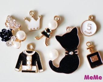1 Set 7 Pcs Charms Alloy Pearl Cat Flower Perfume Kawaii Bracelets Pendants Studs Cabochon Deco Den Phone Case DIY Deco kit PP036