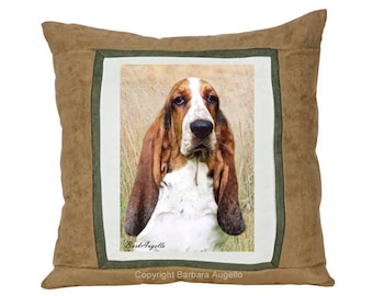 Basset Hound Throw Pillow, Basset Hound Gift, Basset Hound Pillow, Basset Hound Art, Basset Hound