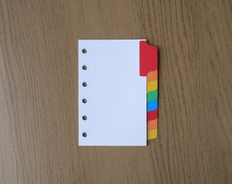 Filofax Pocket Organiser Dividers with 8 Multicoloured Mylar Tabs