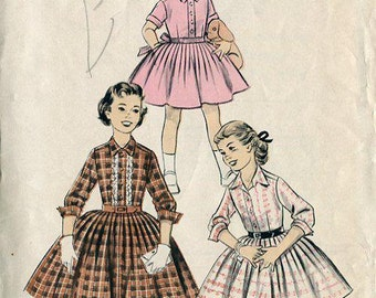 FREE US SHIP Vintage Retro 1950's 50's Sewing Pattern Advance 8023 Girls Shirtwaist Dress Size 6  Convertible Collar Turn back cuff