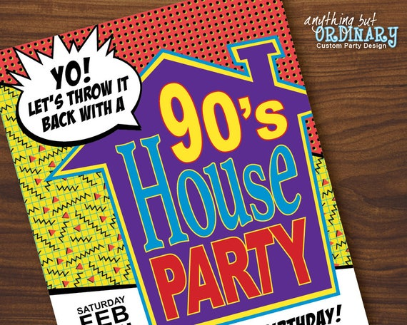 90s House Party Birthday Invites Printable House Party