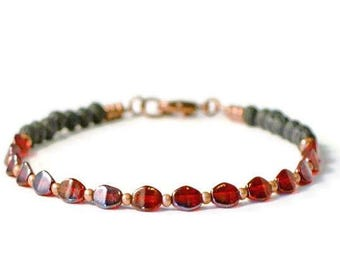 Essential Oil Diffuser Bracelet, Lava Stones & Red Czech Glass, Diffusing Jewelry