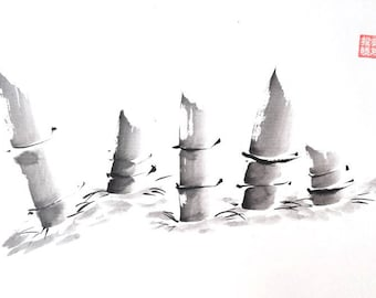 Bamboo sprouts. Summi-e ink and rice paper.