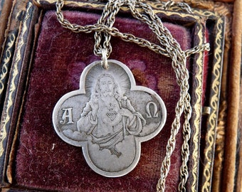 Antique French Christ Silver Medallion Necklace, Quatrefoil Alchemy, The Alpha and Omega, by RusticGypsyCreations