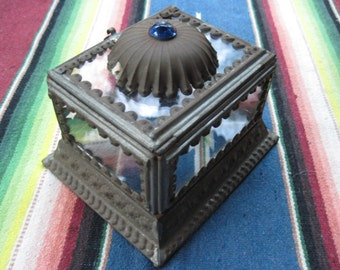 Mexican Tin and Glass Trinket Box